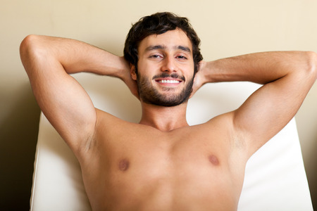 rubdown: Man relaxing in a spa Stock Photo