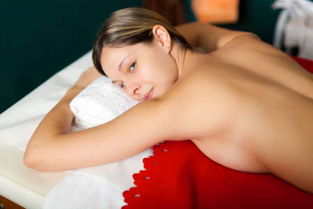 rubdown: Woman in a wellness center Stock Photo
