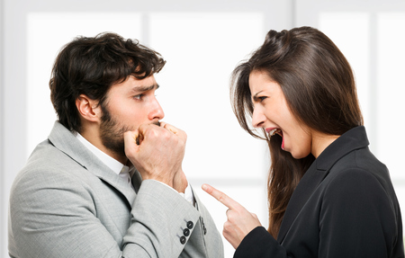 submission: Woman yelling out to a scared man