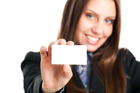 Beautiful young businesswoman holding a blank card photo