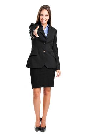 Beautiful young businesswoman handshaking photo