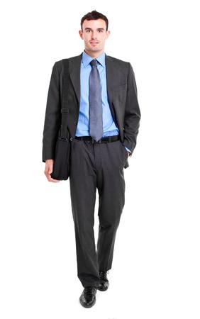 Friendly full length businessman on white background photo
