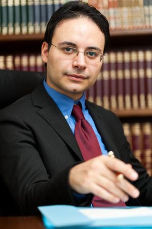 principal: Lawyer portrait working in his studio