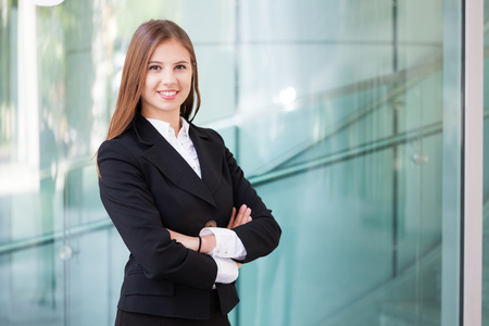 charming business lady: Portrait of a smiling business woman Stock Photo