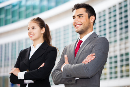 two visions: Business people in an urban environment Stock Photo