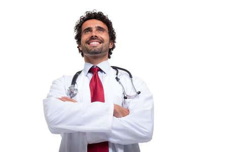 doctoring: Ritratto di un medico sorridente. Isolati su bianco