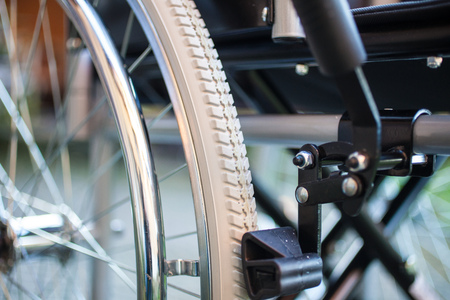 detail: Detail of a wheelchair Stock Photo