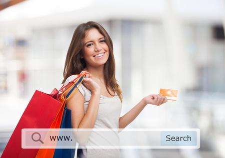 若い女性持株ショッピング バッグ 写真素材