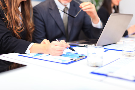Business people at work during a meeting Stock Photo
