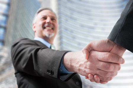 Businessmen shaking hands to seal a deal Stock Photo