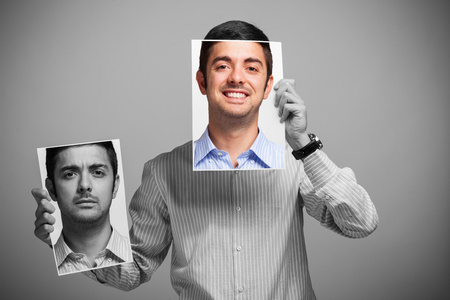 Ritratto di un uomo cambiare il suo stato d'animo Archivio Fotografico - 32258432