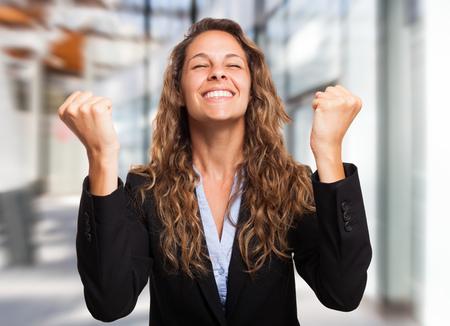 Very happy businesswoman portrait Stock Photo