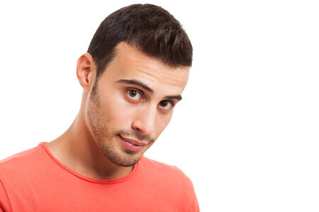 good looking guy: Portrait of a young handsome man isolated on a white background Stock Photo