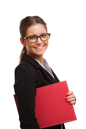 traineeship: Businesswoman holding a clipboard. Isolated on white Stock Photo