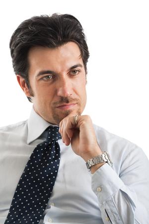 intelligent solutions: Portrait of a thinking businessman