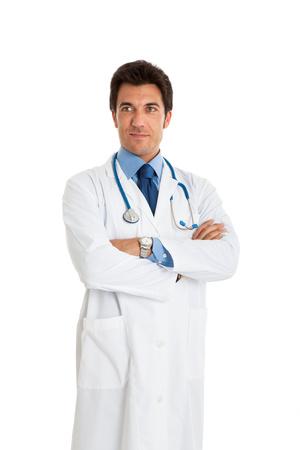 doctoring: Ritratto di un medico di fiducia. Isolato su uno sfondo bianco Archivio Fotografico