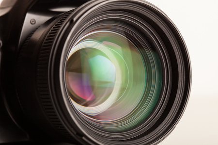 camera lens: Close-up of a photographic lens Stock Photo