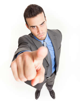 accusing: Angry businessman accusing you