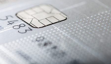 Grey credit card macro photo
