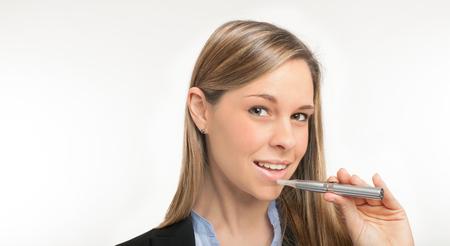 e cigarette: Woman smoking an electronic cigarette Stock Photo