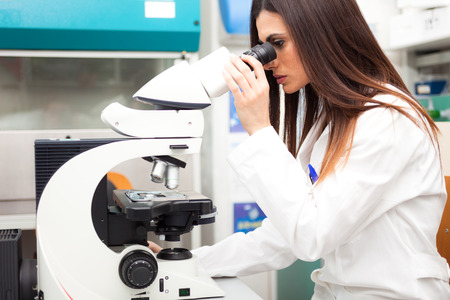cancer research: Researcher at work in a laboratory