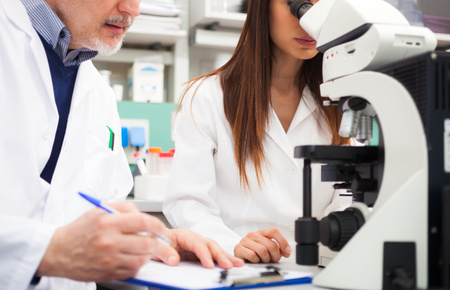 research science: Researchers at work in a laboratory