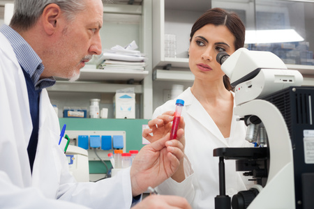 pharmaceutical company: Two scientists at work in a laboratory