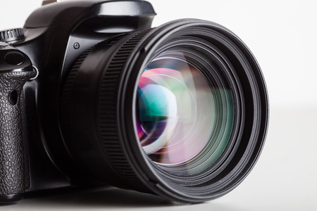 slr camera: Close-up of a digital reflex