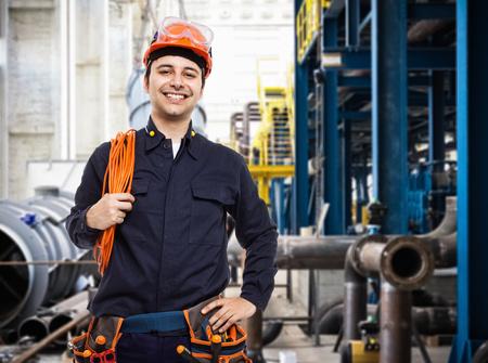 Portrait of an industrial worker in a factory Stockfoto