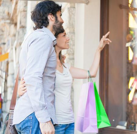 shopping trip: Couple doing shopping in a urban street