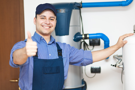 maintenance man: Plumber thumbs up