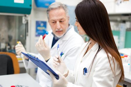 laboratorio: Un par de cient�ficos trabajando en un laboratorio