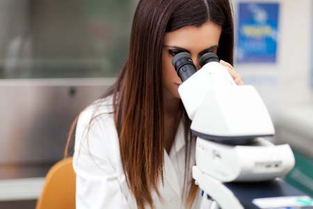 female scientist: Researchers at work in a laboratory