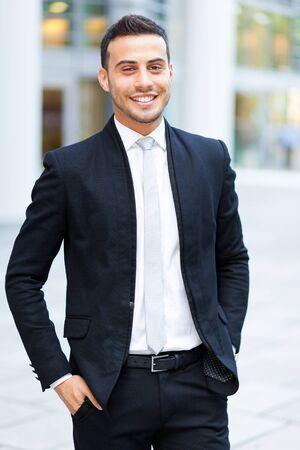 red  man: Retrato sonriente hombre de negocios