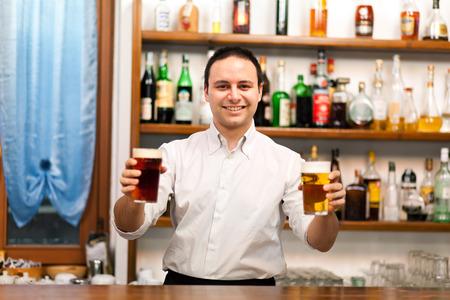 alehouse: Bartender serving beers