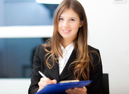 Sourire, femme d'affaires portrait Banque d'images