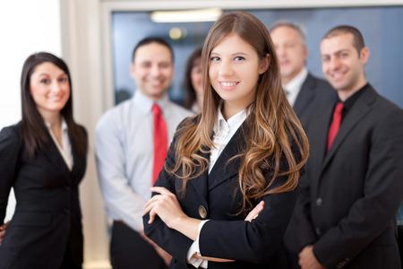 grupos de gente: Grupo sonriente de la gente de negocios Foto de archivo