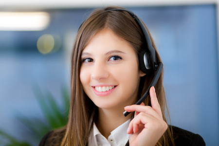 assistance: Female call center operator