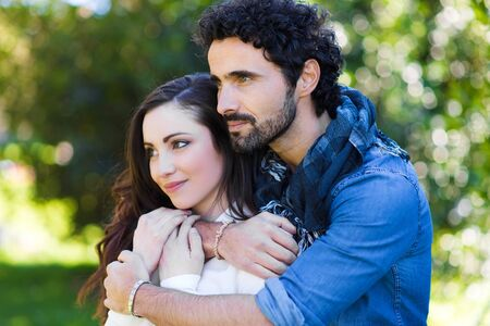 couple having fun: Couple having fun outdoors Stock Photo