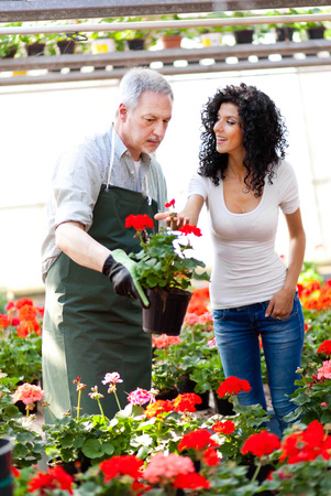 Shop assistant giving a flower pot to a customer photo