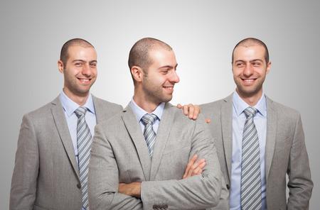 egocentric: Smiling businessman congratulating with himself