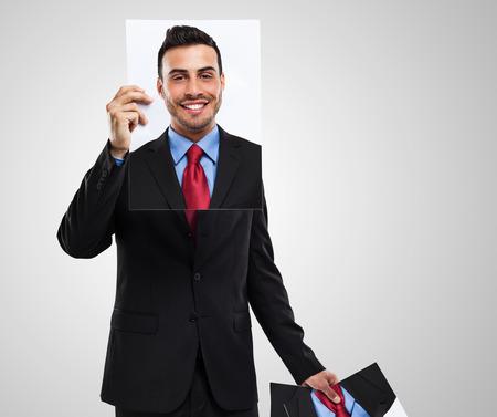 personalidad: Empresario cambiar su rostro Foto de archivo