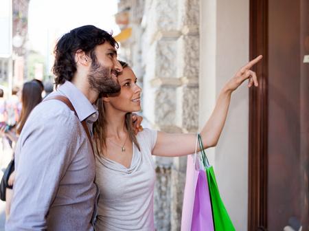 shopping man: Couple shopping in an urban street