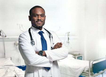 black person: Portrait of a smiling doctor Stock Photo