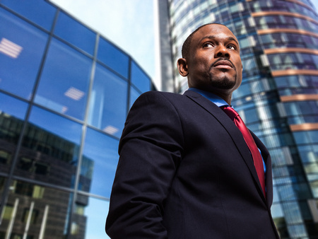 american banker: Portrait of a businessman in an urban environment