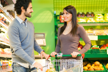 health food store: Couple shopping in a supermarket