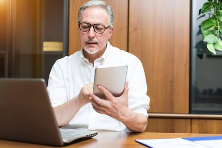 telework: Businessman at work in his office