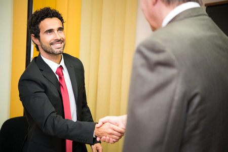 job satisfaction: Business people shaking their hands Stock Photo