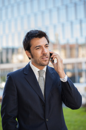 young executive: Portrait of a young executive talking on the cell phone Stock Photo