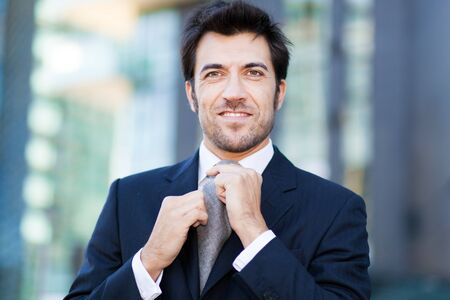 white people: Handsome business man outdoor Stock Photo